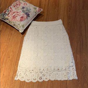 City DKNY cream crochet skirt
